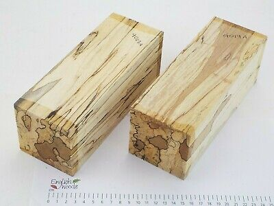 2 Punky English Spalted Beech woodturning or carving blanks. 75x75x205mm. 4019A