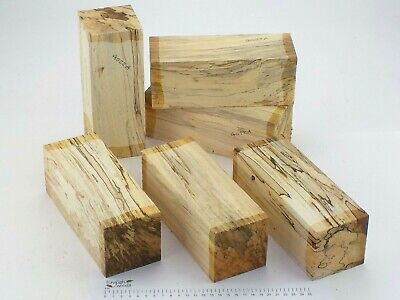 6 Punky English Spalted Beech woodturning or carving blanks. 75x75x205mm. 4022A