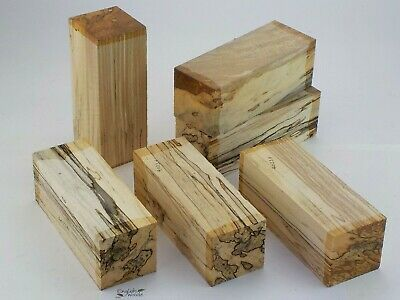 6 Punky English Spalted Beech woodturning or carving blanks. 75x75x205mm. 4023A