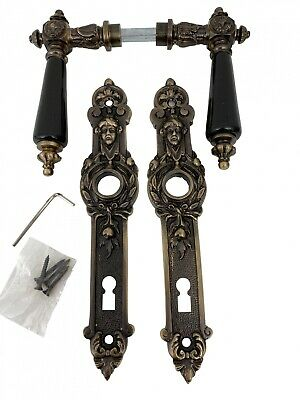 Doorhandle door fitting set brass burnished artificial stone antique style (a)