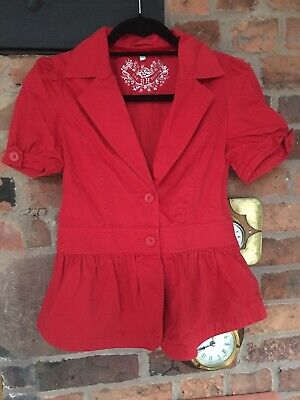 Red Herring Girls Red Short Sleeve Jacket Age 14 Years Immaculate