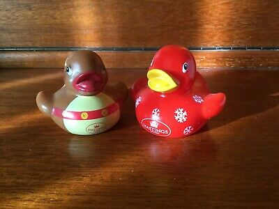 2 Collectable MINI CHRISTMAS Rubber Ducks from Hastings Hotels