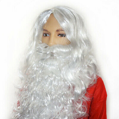 Father Christmas White Santa Claus Wig Beard Father Adult Fancy Dress Costume UK