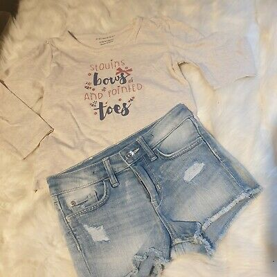 girls 3-4 years outfit bows top & ripped denim shorts outfit bundle next day
