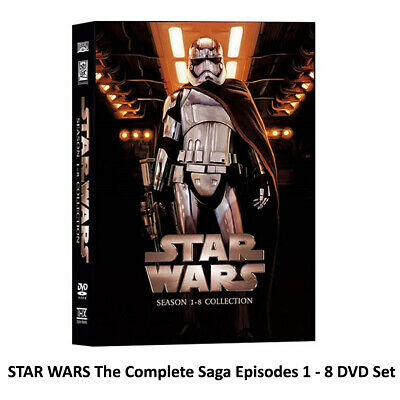 Star Wars The Complete Saga DVD Box 14 Disc Episodes 1-8 Free Shipping New
