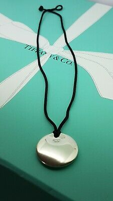 Authentic Tiffany & Co Elsa Peretti Round Disc Necklace, on Silk Cord, RRP £420