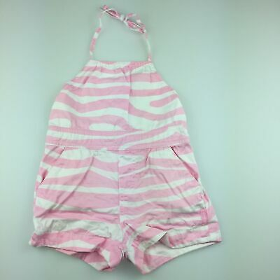 Girls size 1, Fred Bare, pink & white cotton summer playsuit, GUC