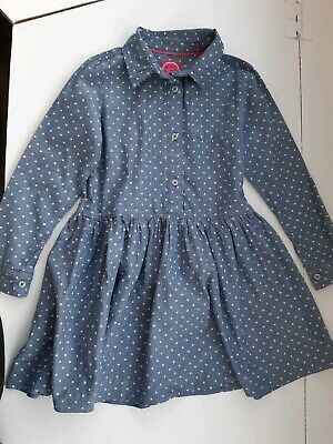 Little Girls blue white spotty shirt winter Dress by Joules Age 6