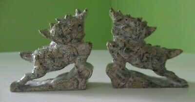 Pair of Small Green Stone Foo Dogs Dragons Asian Chinese Oriental Lions