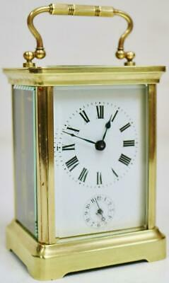 Antique French 8 Day Classic Brass Alarm Carriage Clock Platform Escapement