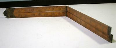 "Vintage 36"" Wooden Carpenters RULER Folding Brass [Sybren Holland] SirH70  #2"