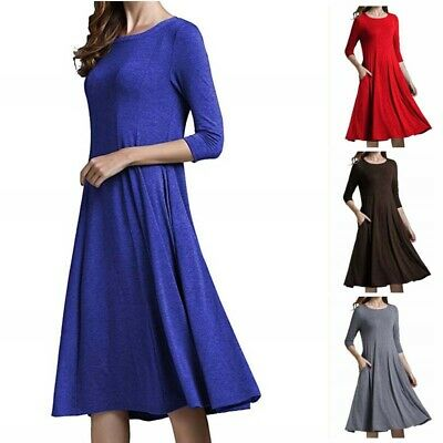 Gown Solid Plus Size Casual A-Line Women Color Ball Loose Shift Dress Dress