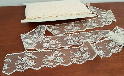 Vintage 80s CREAM Nylon FLORAL LACE Sew Craft Trim 65mm wide Sold BY THE METRE