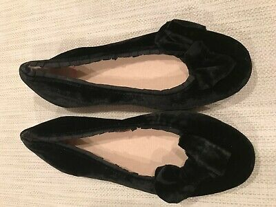 Crewcuts Girls Black Velvet Holiday Shoes with Bow size 1 NWOT