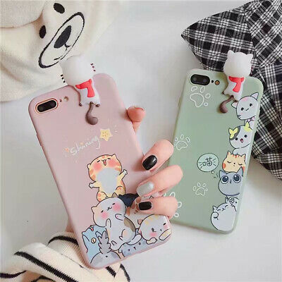 For iPhone 11 Pro 7 8 XS Max XR Cute Cartoon Cat 3D Doll TPU Phone Case Cover