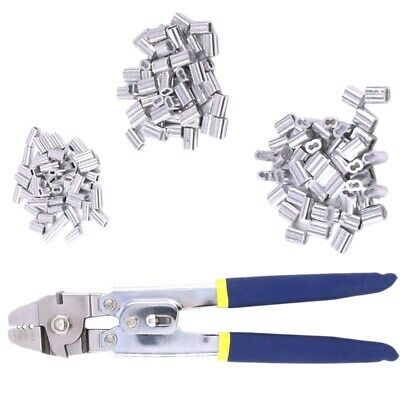 Wire Rope Crimping Tool with 180Pcs 3 Size Aluminum Double Barrel Ferrule C W8Y4