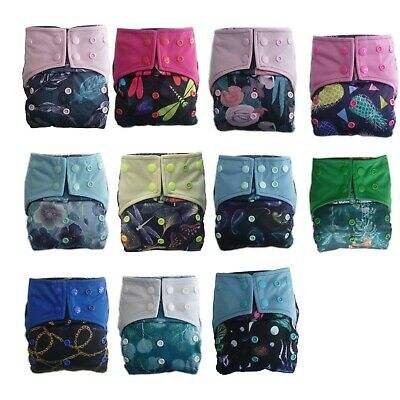 AIO Reusable Washable Cloth Diaper Charcoal Bamboo Insert Double Gussets