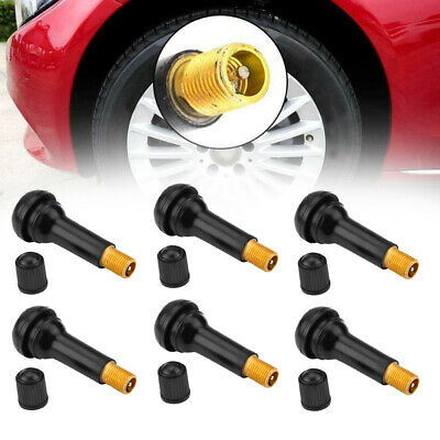 25pcs TR414 Snap-In Car Tire Wheel Valve Stems Medium Black Rubber Kit Universal
