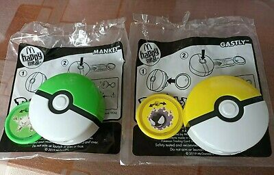 McDonald's Happy Meal Toys Pokemon 2019 Mankey Geen Ball Gastly Yellow Ball Used