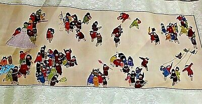 Vintage Chinese Silk Embroidery Textile Tapestry Panel Hundred People Figures