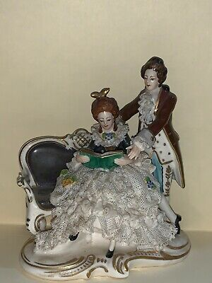 Antique Dresden Sitzendorf Porcelain Lady Reading Learning Couple Rare Antique