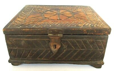 Antique old Wooden Hand Carved  Multi-Purpose  Box Decorative Collectible