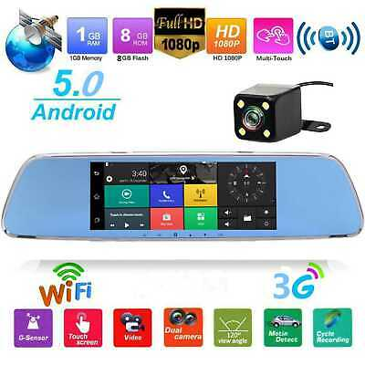 7 Inch 3G Car Rearview Mirror DVR Camera Dual Lens Android 5.0 GPS WiFi Dash Cam