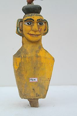 Antique Old Hand Carved Wooden South India Painted Lady bust Figurine NH1410
