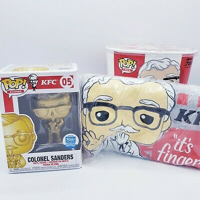 Funko Exclusive.Pop! Ad Icons: KFC - Gold Colonel Sanders + Pop! Tee Size Large