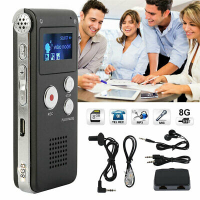 8GB Digital Sound Audio Recorder MP3 Player USB Audio Rechargeable Dictaphone.AU