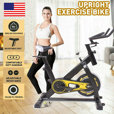 600lbs Home Gym Fitness Stationary Exercise Bike Cycling Bicycle+30lbs Flywheel