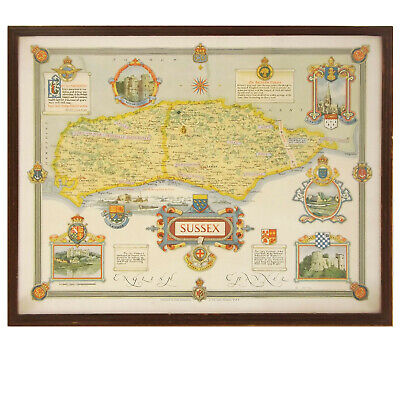 Framed Map of Sussex Ernest Clegg Womens' Land Army
