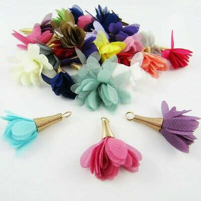 10pce (5 pairs) Chiffon Flower Tassel Gold Cap 35mm Earrings etc