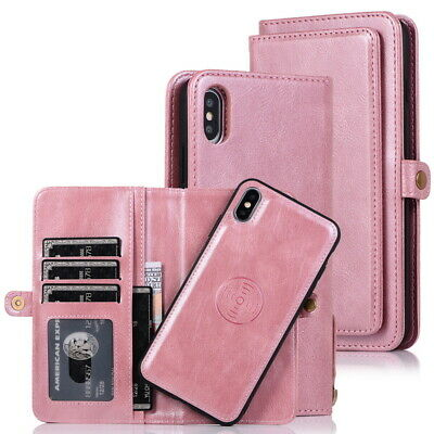 For Samsung Galaxy A50 Removable Magnetic Genuine Leather Wallet Flip Case Cover