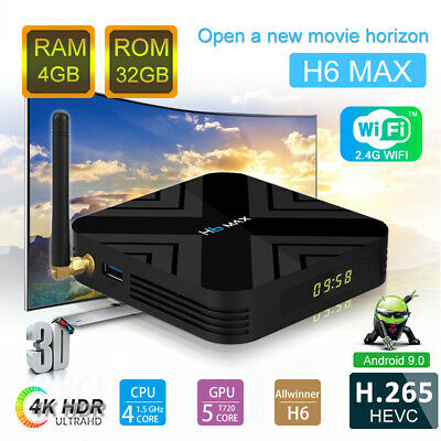 H6 MAX 4GB+32GB Android 9.0 TV Box Support 6K 4K IPTV Media Player Dual WiF
