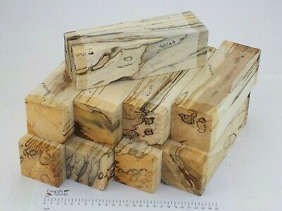 9 Punky English Spalted Beech woodturning or carving blanks. 65x65x205mm. 4024A