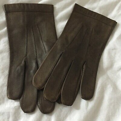 Unworn- Vintage French Mens Distressed Brown Leather Gloves / Driving Gloves (M)
