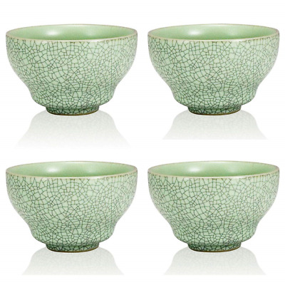 The Exotic Teapot - Green Ru Ceramic Cup Set, 4 Crackle Glaze Porcelain Tea Cups