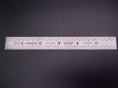 """Lufkin Rule Co. #S 220 4R Tempered- Stainless 6"""" Scale/Rule    Made in USA"""