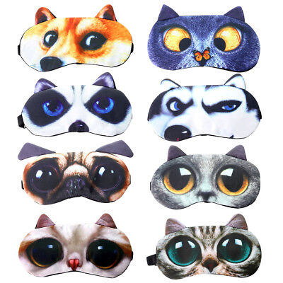 Soft Sleep Eye Mask 3D Animal Dog Cat Travel Blindfold Eye Masks Men Women Kids