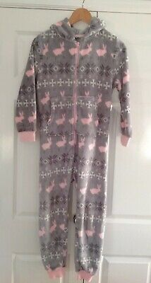 Next Girl Fleece All In One Size 9 Years Grey & Pink Rabbits & Snowflakes in VGC
