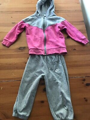 Girl's  Grey And Pink Adidas Zip Up Tracksuit Age 2-3 Years