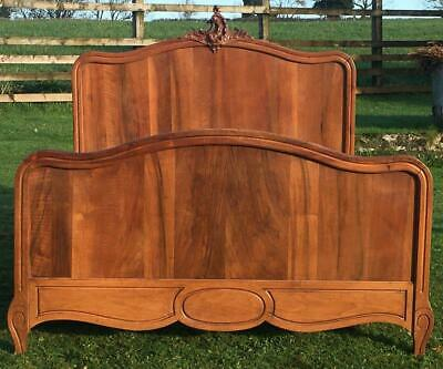 A LATE 19th CENTURY FRENCH LOUIS XV STYLE WALNUT DOUBLE BED WITH BASE