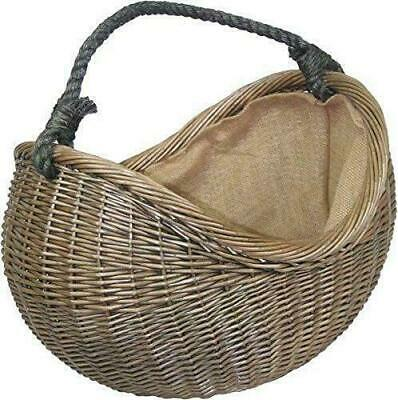 Antique Wash Hessian Lined Rope Handled Wicker Carrying/log/storage Basket