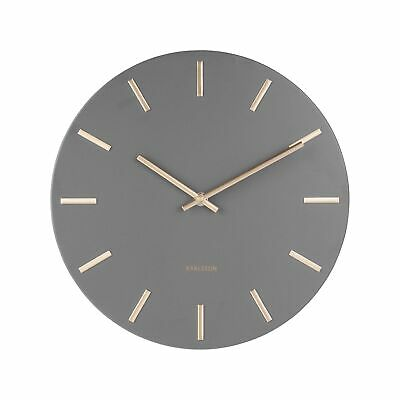 Karlsson Charm Metal Wall Clock With Gold Markers 30Cm- Grey