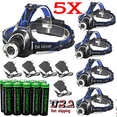 900000LM T6 LED Zoomable Headlamp Rechargeable 18650 Headlight Battery & Charger