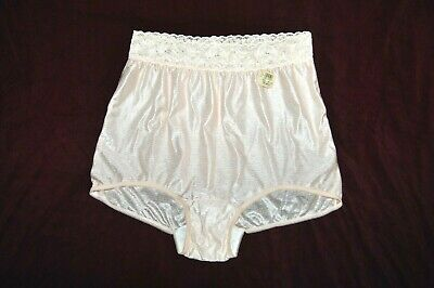 Vintage LANIQUE 100% Shiny Nylon Lace Wast band Briefs Panties Peach Size 14 NEW