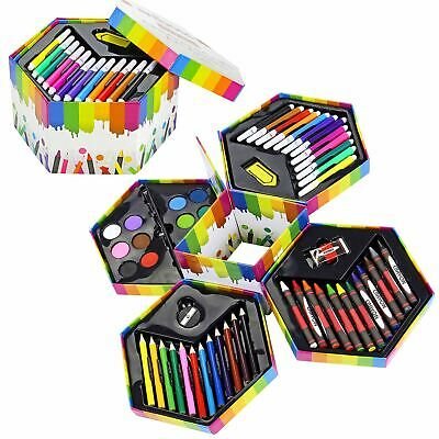 52pc Wooden Art Set Case Colouring Pencils Painting Drawing Children Adults