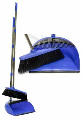Long Handled Dustpan and Brush Set Kitchen Soft Sweeping Broom Blue Dust Pan