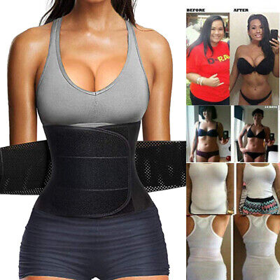 Sport Waist Trainer Weight Loss Women Sweat Thermo Wrap Body Shaper Belt Gym US